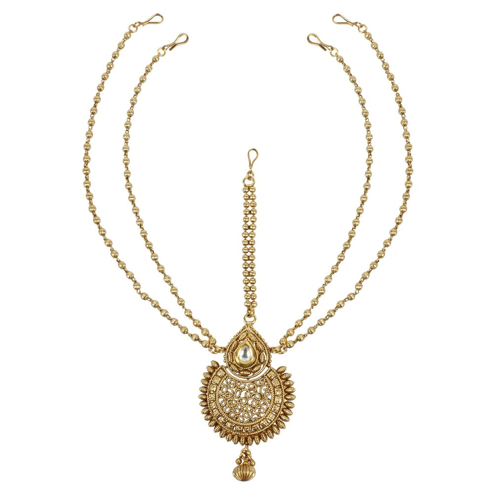 MUCH-MORE Gorgeous Style Stunning Gold Plated Kundan Stone Indian Matha Patti Head Partywear Jewelry For Women (50)