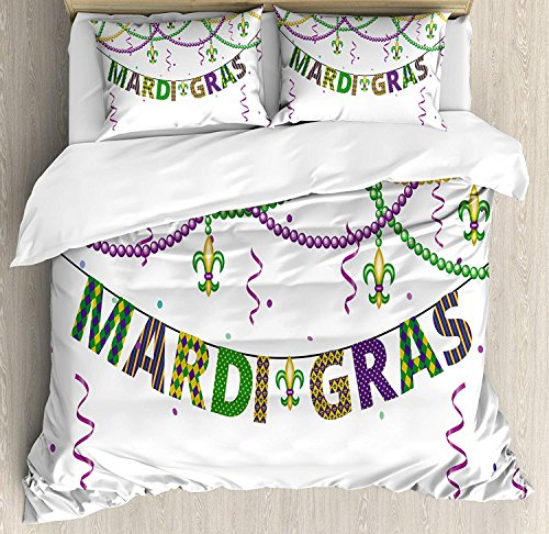 Mardi Gras Duvet Cover Set 4 Piece Microfiber Comforter Quilt Bed Bedding Covers with Zipper, Ties - Festive Decorations with Fleur De Lis Icons Hanging from Colorful Beads Purple Green Yellow