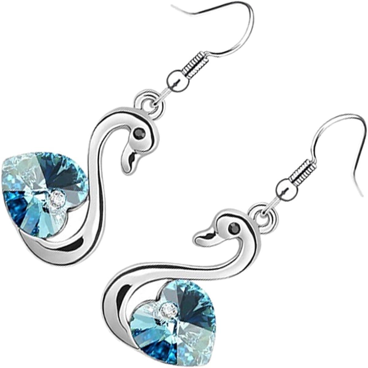 GWG Jewellery Pendientes Mujer Regalo Pendientes, Colgantes Chapados en Plata de Ley Cisne con Alas Brillantes de Corazón de Cristal Colorado para Mujeres