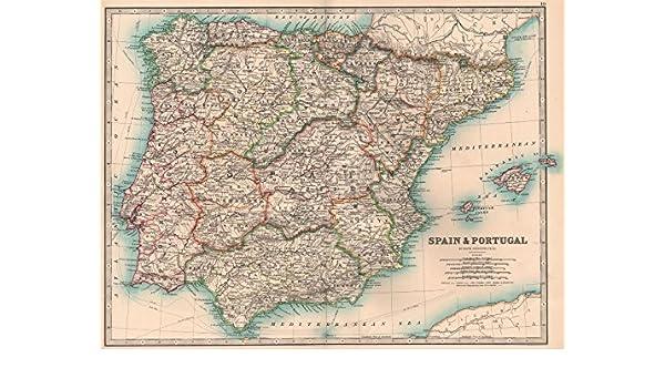 Iberia. España Portugal regiones Cables de Telégrafo Ferrocarril. Johnston – 1906 – Old Antiguo Mapa Vintage – Juego de funda nórdica Mapas de Iberia: Amazon.es: Hogar