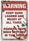 Warning Zombie - Metal Wall Sign Plaque - Walking Dead Series Inspired Halloween
