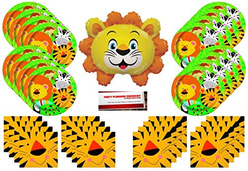 Jungle Animals Lion Birthday Party Supplies Bundle Pack for 16 plus 14 Lion Balloon