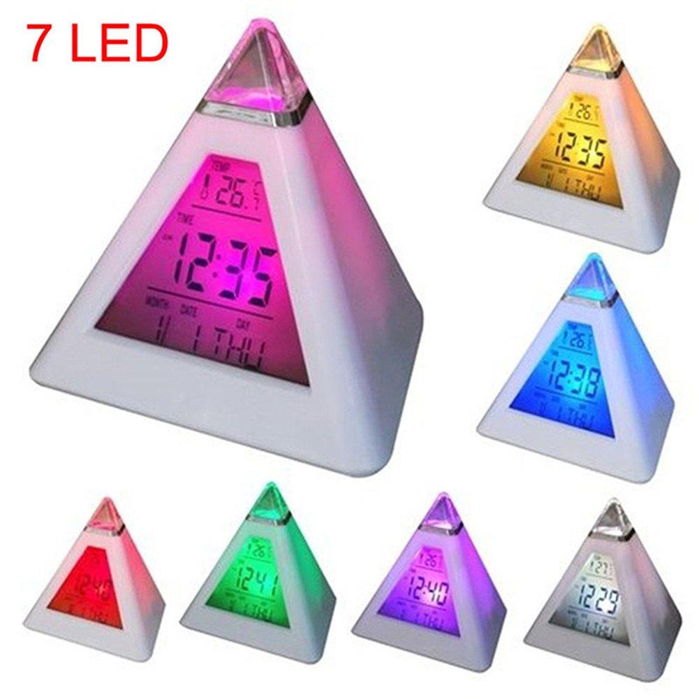 Etbotu Pretty LED Couleurs changeantes Pyramid Horloge dalarme temp/érature Calendrier D/écoration avec fonction de rappel dalarme