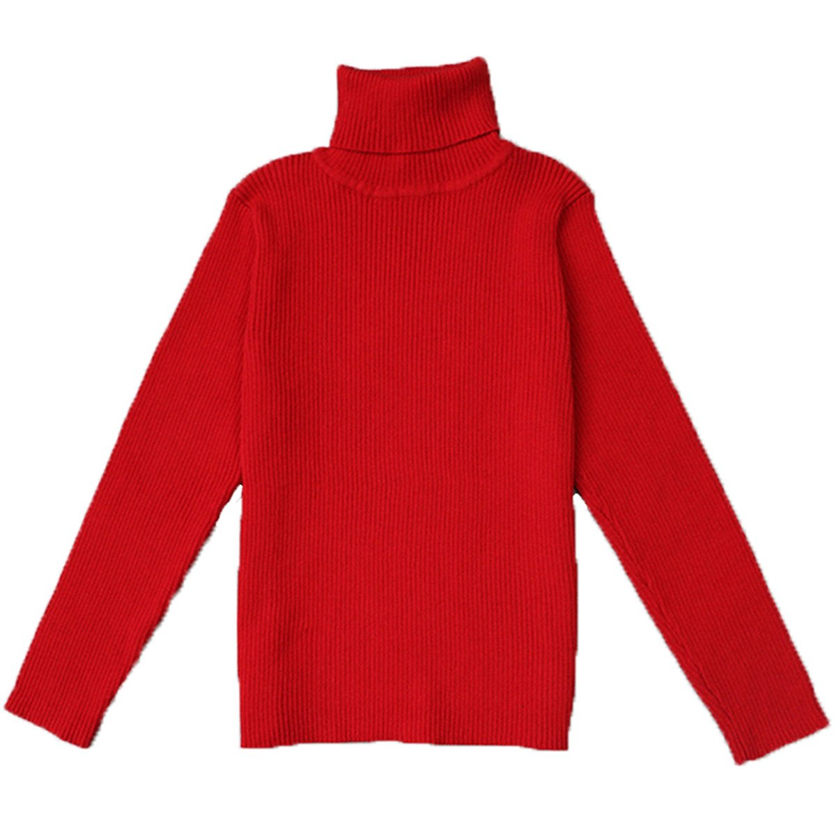 Little Girls Turtleneck Long Sleeve Sweater Basic Solid Fine Knit Warm Sweatshirt