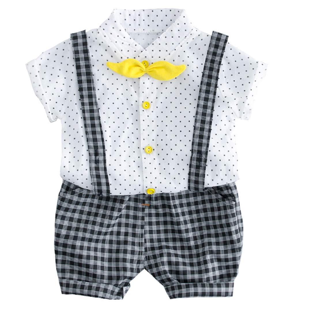 FCQNY Kid Boy Short Sleeve Star Print Button Down Shirt+Suspender Shorts Set 2Pcs