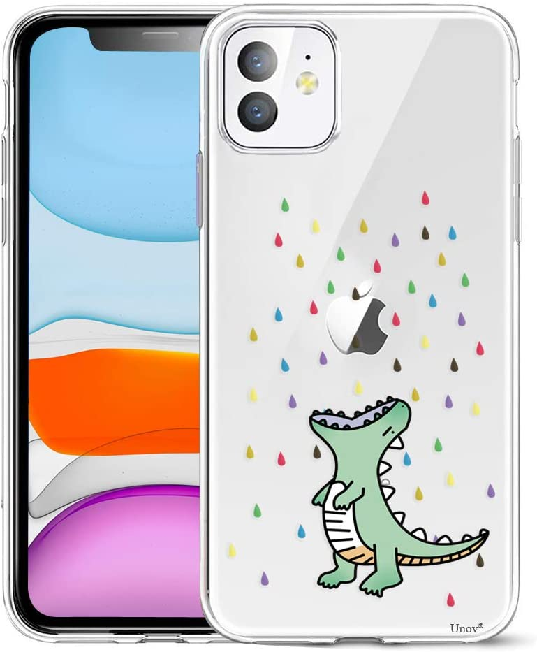 Unov Case Compatible with iPhone 11 Clear with Design Slim Protective Soft TPU Bumper Embossed Pattern 6.1 Inch (Rainbow Dinosaur)