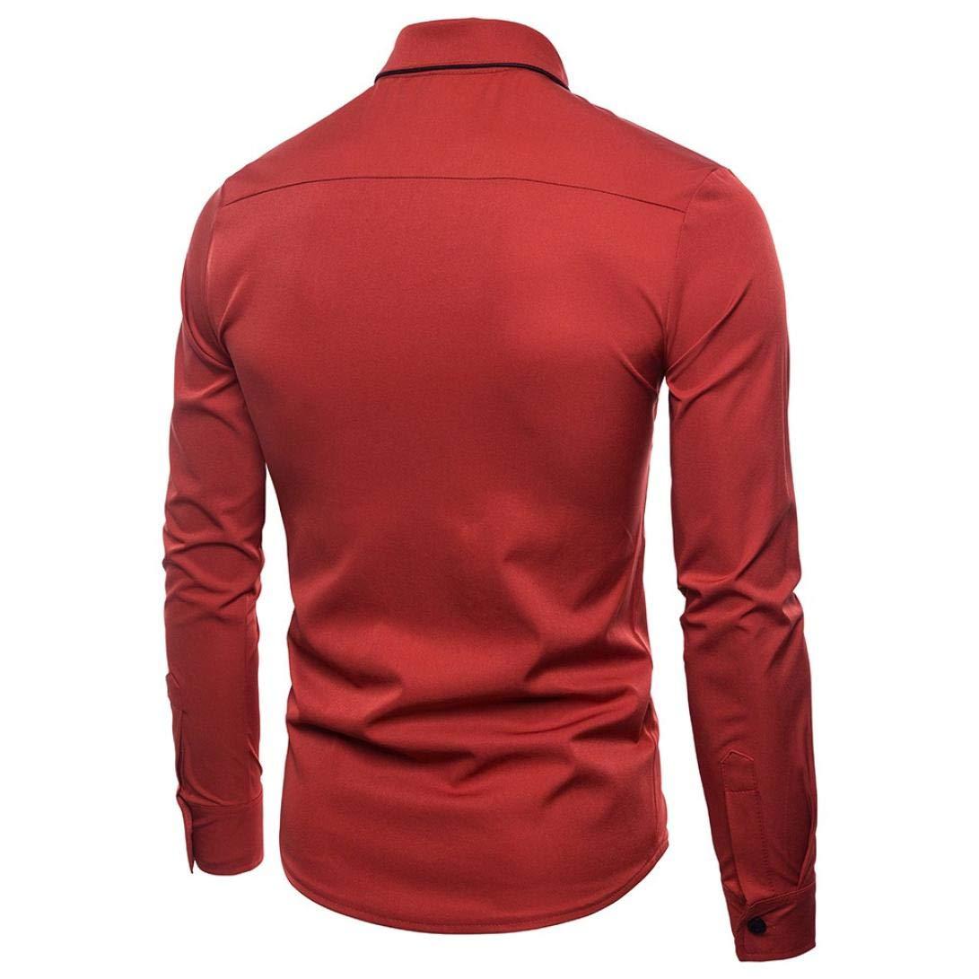 Yvelands Liquidación Casual Shirts Camisa de Manga Larga de Moda de otoño Hombres Camisa de Solapa de Blusa de Negocios S-2XLStriped Shirt