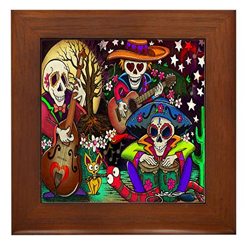CafePress - Day Of The Dead Music Art - Framed Tile, Decorative Tile Wall - Ceramic Quality Decor Framed Tile