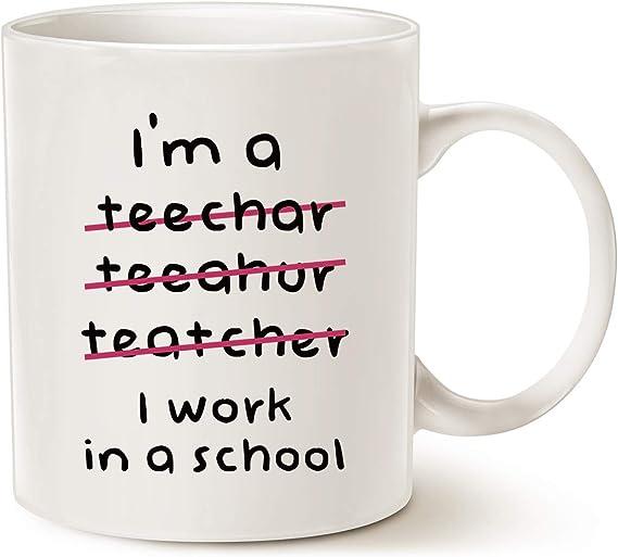 MAUAG Teacher Christmas Gifts Funny Coffee Mugs Wrong I'm an Teacher