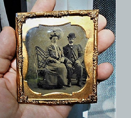 (A 1850 Tintype Victorian Couple Photo in Gold Pinchbeck Frame In Victorian Hats, Jewelry, Clothing & Furniture . Ready to Hang)