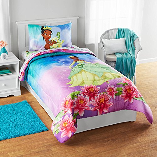 LO 1 Piece Kids Girls Cute Purple Pink Disney Princess Tiana Comforter Twin/Full, Pretty Flowers Bedding Frog Adorable Magical Kingdom Pattern Green Blue Yellow Brown, Polyester (Brown Green Frogs)