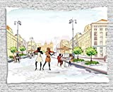 XHFITCLtd Modern Tapestry, Old Town with Street Musician Women Playing Violin Streets European Groovy Graphic, Wall Hanging for Bedroom Living Room Dorm, 60WX40L Inches, Multicolor