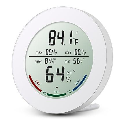 Oria Digital Termómetro Higrómetro Interior, Medidor Temperatura y Humedad, Interior Monitor LCD Pantalla con