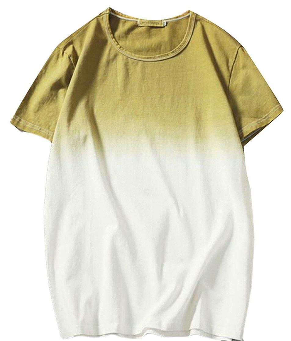 Maisicolis Men Crewneck Stretchy Gradient Color Casual Summer Cotton T-Shirt