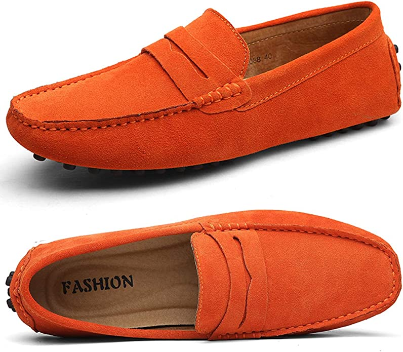 Mens Retro Shoes | Vintage Shoes & Boots Ezkrwxn Mens Loafers Suede Leather Slip on Driving Shoes Moccasins Flat Dress Shoes $36.90 AT vintagedancer.com