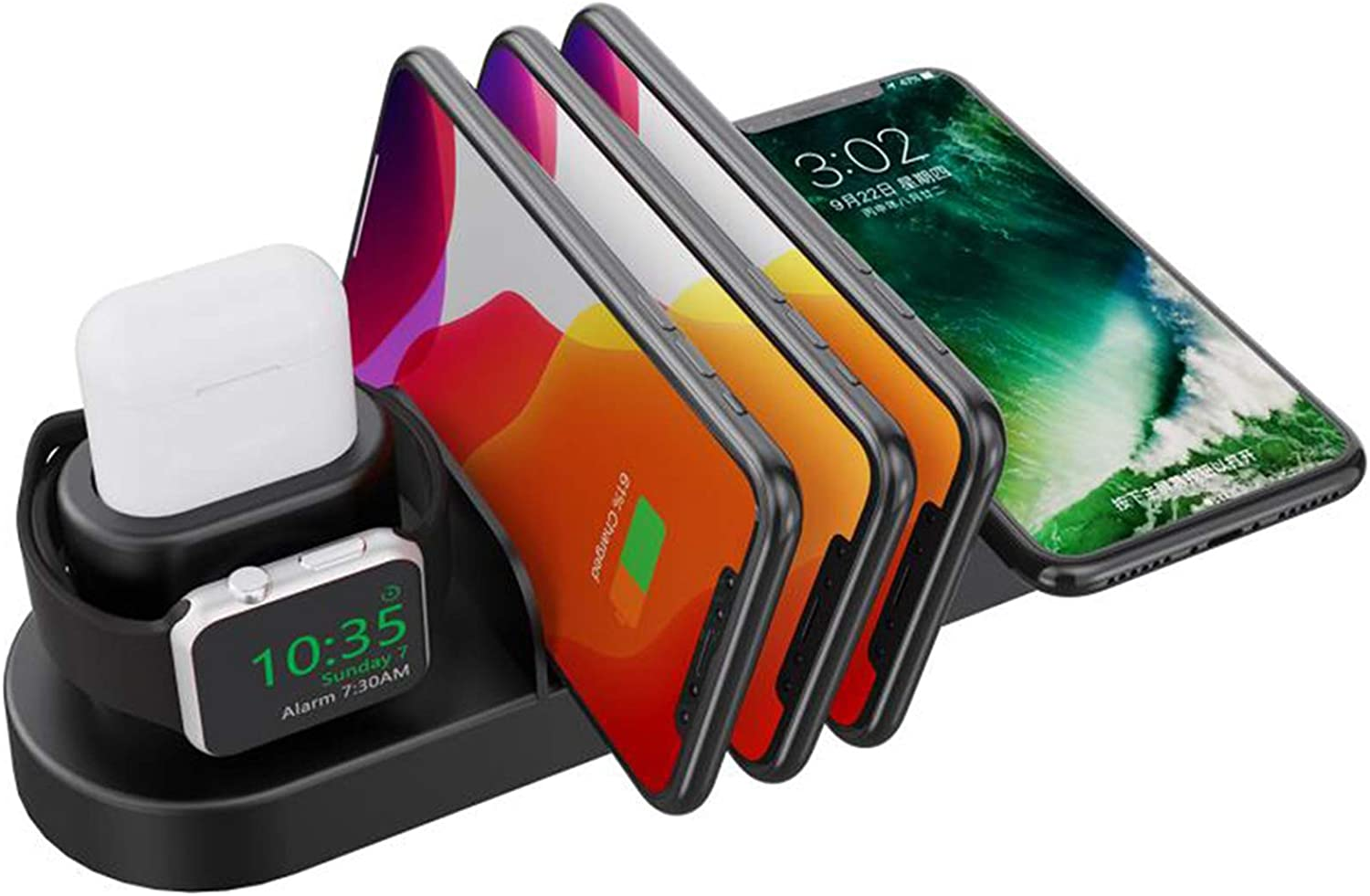 Co-Goldguard Wireless Charging Stand 6 in 1 Charger Station Compatible with iPhone Airpods Apple iWatch Series 5/4/3/2/1, iPhone 11/11 Pro/11 Pro Max/X/XR/8 Plus/All Qi Phones
