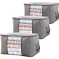 3-Piece QuaiShy Large Durable Closet Foldable Storage Boxes Bags