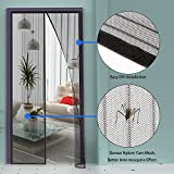 Homdox Magnetic Screen Door Retractable Heavy Duty Mesh Doors with Premium Mesh Screen Curtain and Full Frame Velcro Prevent Mosquito, Keep The Air Fresh, Black (33''X 81'' Max)