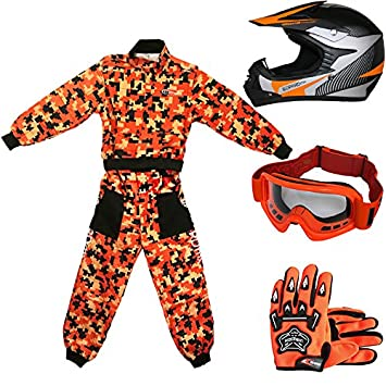 Leopard LEO-X19 Casco de Motocross para Niños + Gafas + Guantes + Traje de