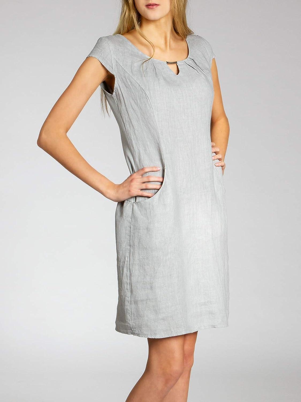 Caspar SKL020 Vestido Corto de Verano de Lino para Mujer con Decoraci/ón Met/álica