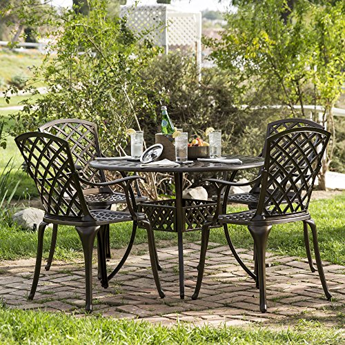 Best Choice Products 5-Piece Cast Aluminum Patio Dining Set w/ 4 Chairs, Umbrella Hole, Lattice Weave Design - Brown