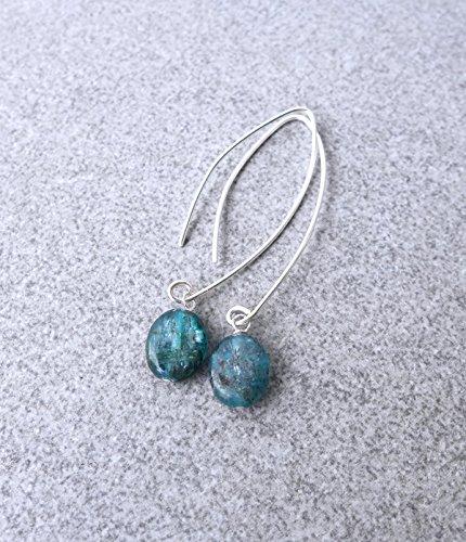 Kyanite Threader Earrings, Blue Stone Sterling Silver Minimalist Wire Curved Arc Earrings