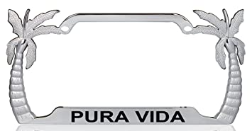 pura vida palm tree design chrome metal license plate frame auto tag