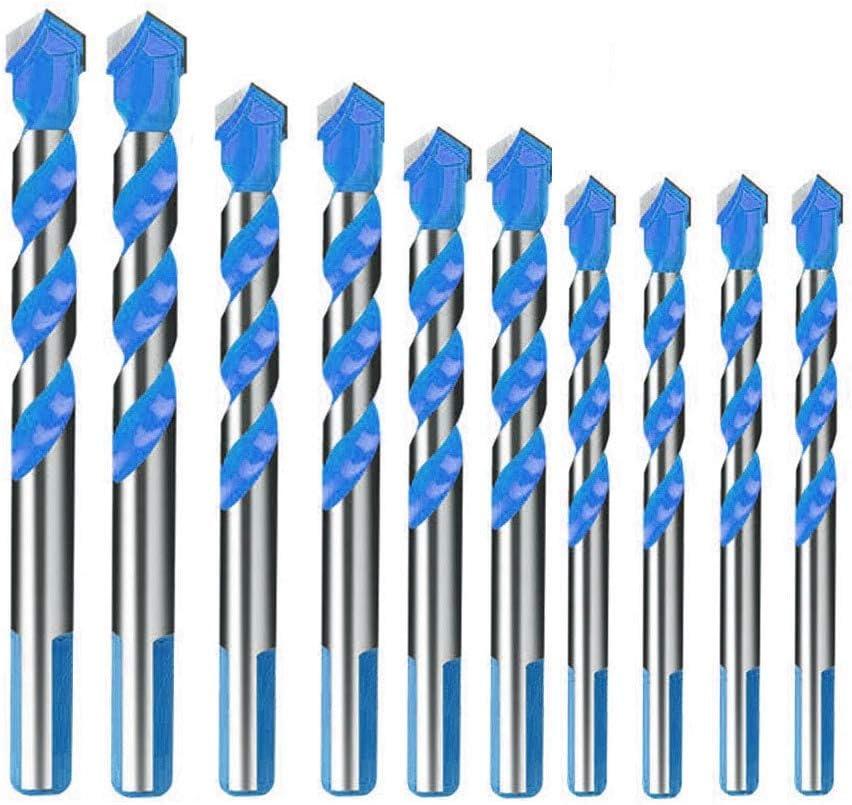 LATERN Broca de 10 piezas, juego de brocas de mampostería de carburo de tungsteno para metal, baldosas de cerámica de porcelana, concreto, ladrillo, plástico y madera - 6/8/10/12mm