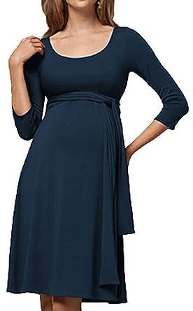 Bevalsa Damen 2in1 Umstands Gerafften Stillkleid Maxikleid 3 4 Ärmel  Maternity A-Linie Schwangerschaft ecf49f94e0