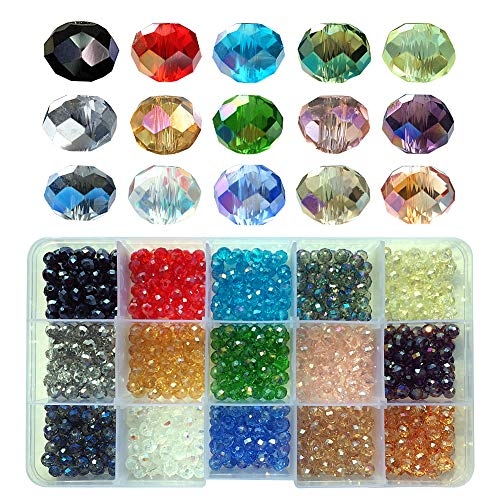 (Chengmu 6mm Briolette Glass Beads for Jewelry Making 750pcs AB Colour Faceted Rondelle Shape Colourful Crystal Spacer Beads Assortments Supplies Accessories Tools for Bracelets Necklaces with Cord)