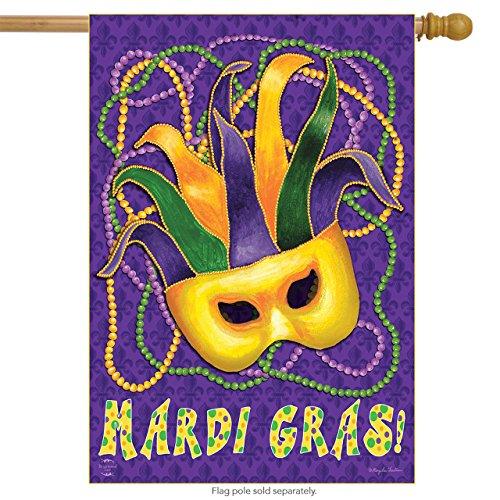 Briarwood Lane Mardi Gras House Flag Mask Beads Holiday 28