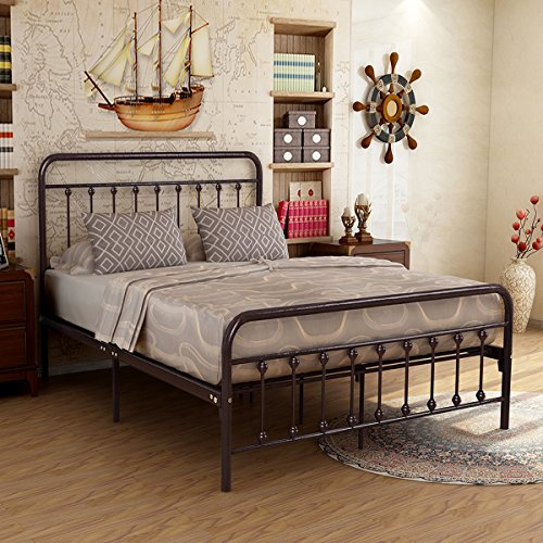 Metal Bed Frame Iron Decor Steel Queen Size Base with Headboard and Footboard Legs Platform Slats Cover Dark Copper 634 (Dark Copper Frame)