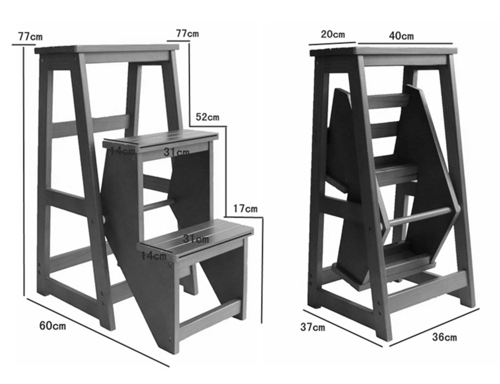 Yxsd scaletta pieghevole in in in legno massello sgabello scala a