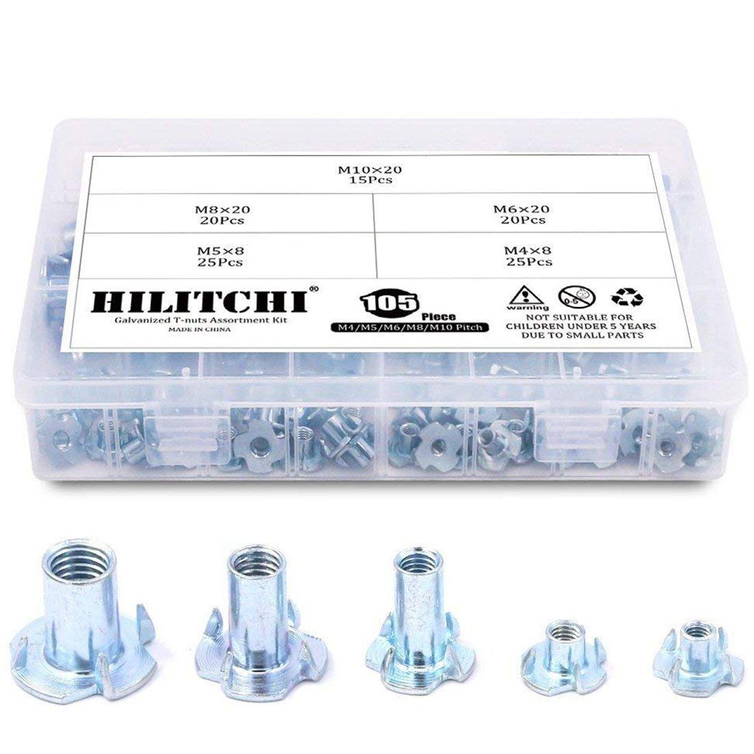 Hilitchi 105 Pcs M4 5 6 8 10 Zinc Plated Steel T Nut Assortment Kit