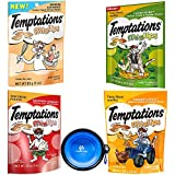 Temptations Cat Treats Mix-Ups Snack Treats Variety Bundle 4 Pack (Catnip,Sunrise Scramble,Backyard Cookout & Farmers Feast Flavors) with Hotspot Pets Collapsible Bowl