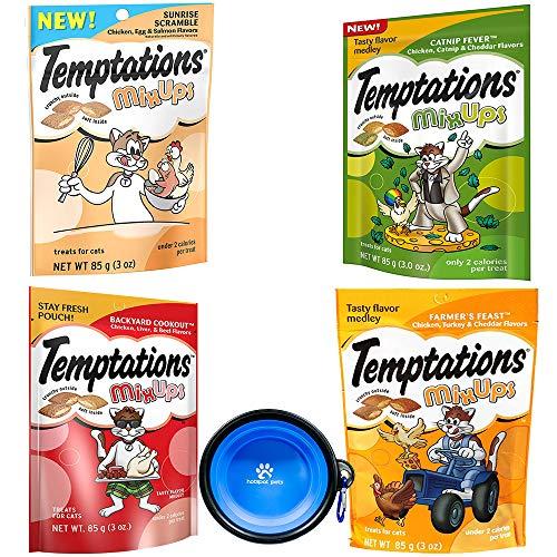 Temptations Cat Treats Mix-Ups Snack Treats Variety Bundle 4 Pack (Catnip,Sunrise Scramble,Backyard Cookout & Farmers Feast Flavors) with Hotspot Pets Collapsible Bowl