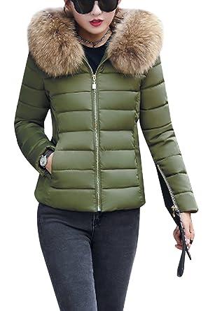 b4808a078beb YMING Women Elegant Casual Short Down Coat Winter Wear Wind Proof Army Green  2XS