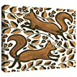 ArtWall Nat Morley 'Beachnut Squirrels' Gallery Wrapped Canvas Artwork, 36 by 48-Inch