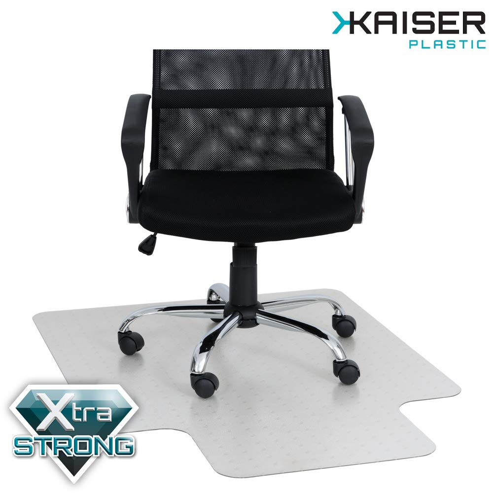 KAISER PLASTIC Chair Mat | Xtra - Strong Quality | Made-in-Germany | 36'' x 48'' x 1/16'' with Lip | for Low Pile Carpets | 100% Premium Polycarbonate