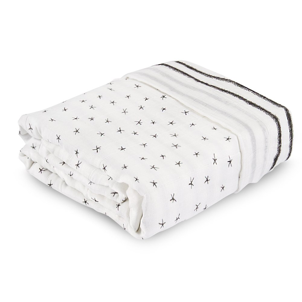 aden + anais Dream Blanket, 100% Cotton Bamboo Muslin, 4 Layer lightweight and breathable, Oversized 60 X 98 inch, Midnight