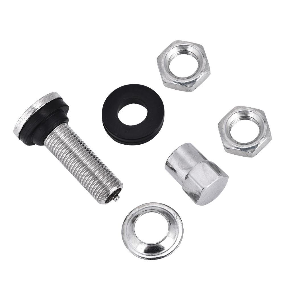 Silver TR161 Metal Car Truck Motorcycle Bolt In Tire Tyre Valve Short Stems 10Pcs Tire Valve Stem with Dust Cap Kit