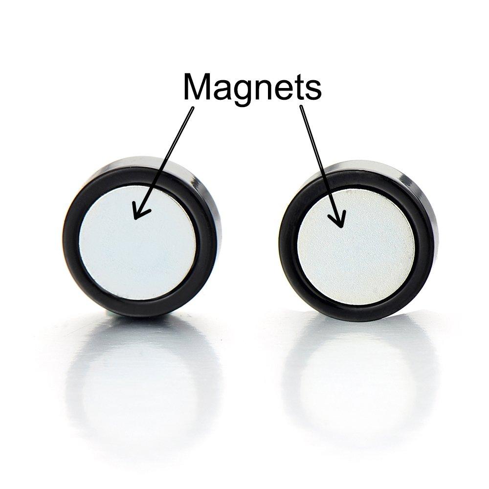 10MM Stern Magnetische Schwarz Kreis Herren Click-on Fake Piercing Ohrstecker Ohrringe Fakeplugs Tunnel Gauges COOLSTEELANDBEYOND ME-437