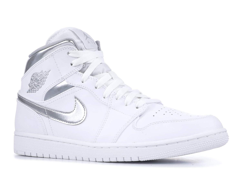 White, metallic silver-white Nike - AIR JORDAN 1 MID