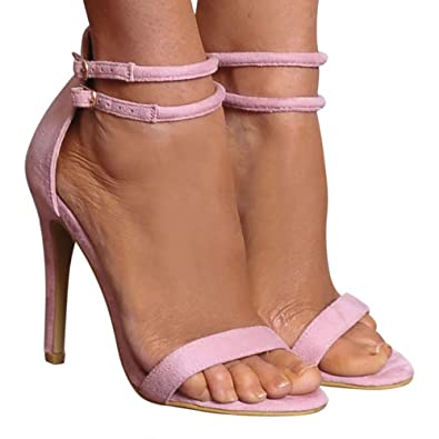 7bb11cf01db1c7 Ladies Baby Pink Barely There Stilettos Peep Toes Strappy Sandals High Heels  UK7 EURO40