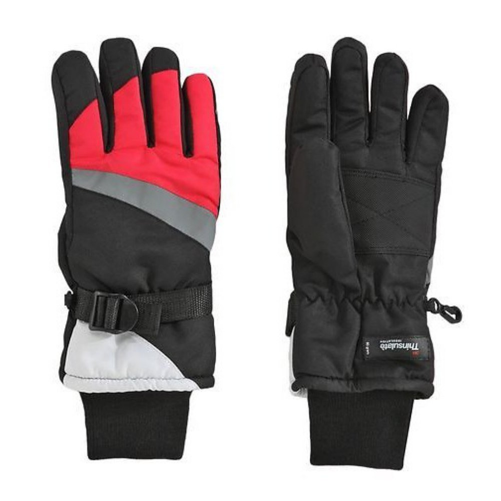 Aquarius Girls Black /& Pink Thinsulate Snow /& Ski Gloves Wrist Strap