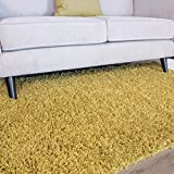 Cheap Ontario Cheap Luxury Easy Clean Yellow Ochre Mustard Shaggy Soft Touch Pile Living Room Bedroom Shag Area Rug 3'7″ x 5'3″