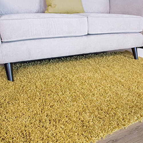 Woven Rug Mustard (Ontario Yellow Ochre Soft Touch Easy Clean Living Room Shag Shaggy Area Rug 2' x 3'7
