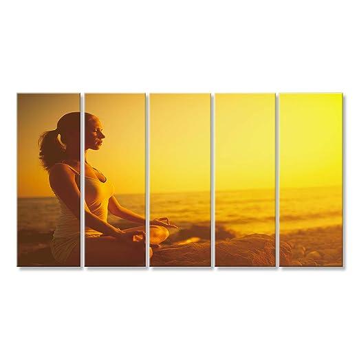 islandburner Cuadro Cuadros Yoga en la Playa. Mujer ...