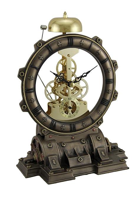 Metal y resina Cuadro relojes tiempo de la puerta Interior suave Steampunk Generador escritorio sorprendente reloj