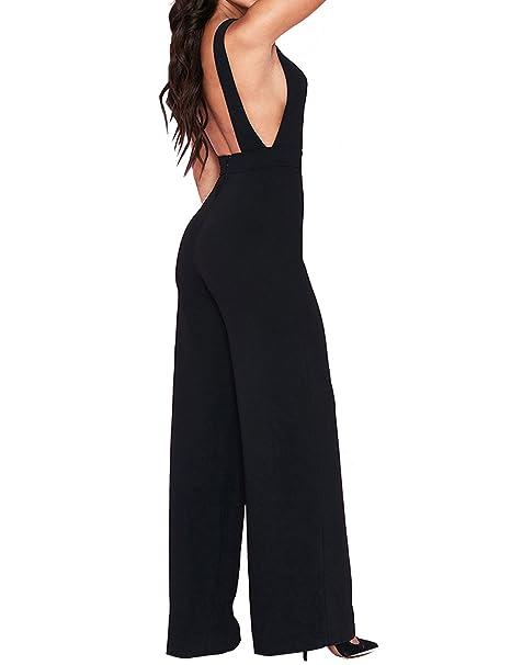 0753b89a3070 UONBOX Women s Elegant Open Back Sleeveless Wide Leg Long Pants Jumpsuit  Rompers (Black